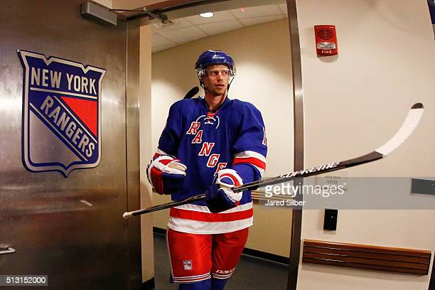 Eric Staal of the New York Rangers walks out of the locker room for his Rangers debut against the Columbus Blue Jackets following a trade from the...