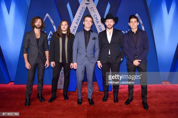 Eric Steedly Trip Howell Brandon Lancaster Jared Hampton and Chandler Baldwin of musical group LANco attend the 51st annual CMA Awards at the...