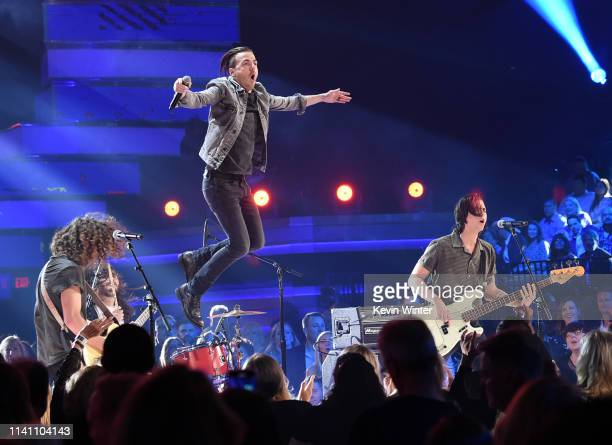 Eric Steedly Tripp Howell Brandon Lancaster and Chandler Baldwin of music group Lanco perform onstage during the 54th Academy Of Country Music Awards...