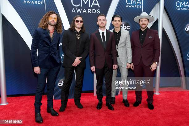 Eric Steedly, Tripp Howell, Jared Hampton, Brandon Lancaster and Chandler Baldwin of LANCO attend the 52nd annual CMA Awards at the Bridgestone Arena...