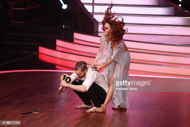 Eric Stehfest and Oana Nechiti looks delighted after their performance as they received the maximum 30 points from the jury members during the 3rd...