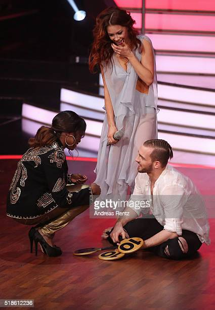 Eric Stehfest and Oana Nechiti looks delighted after their performance as they received the maximum 30 points from the jury members by Motsi Mabuse...