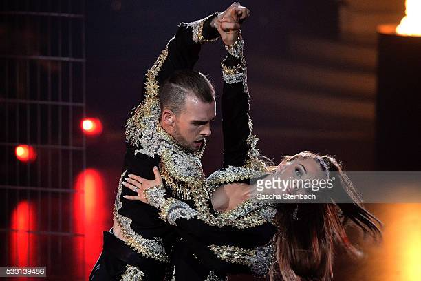 Eric Stehfest and Oana Nechiti perform on stage during the 10th show of the television competition 'Let's Dance' at Coloneum on May 20 2016 in...