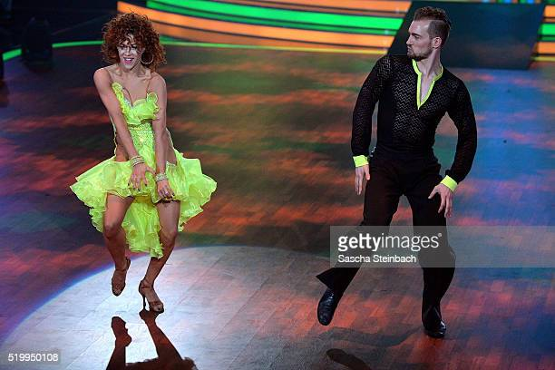 Eric Stehfest and Oana Nechiti perform on stage during the 4th show of the television competition 'Let's Dance' at Coloneum on April 8 2016 in...