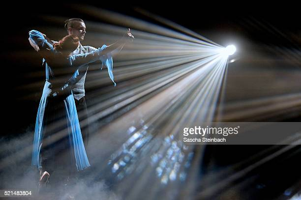Eric Stehfest and Oana Nechiti perform on stage during the 5th show of the television competition 'Let's Dance' at Coloneum on April 15 2016 in...