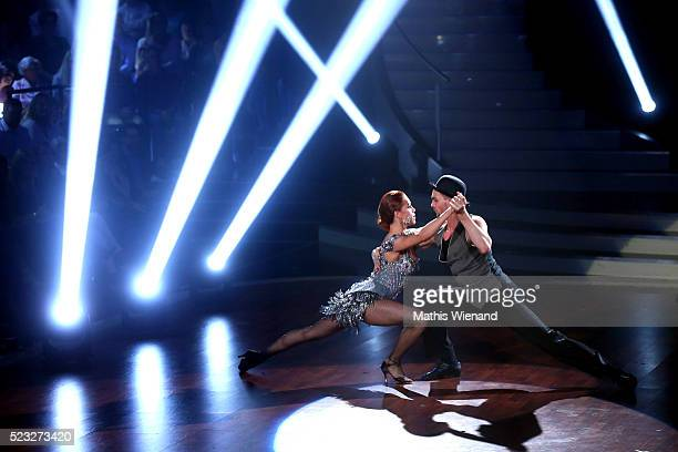 Eric Stehfest and Oana Nechiti perform on stage during the 6th show of the television competition 'Let's Dance' on April 22 2016 in Cologne Germany