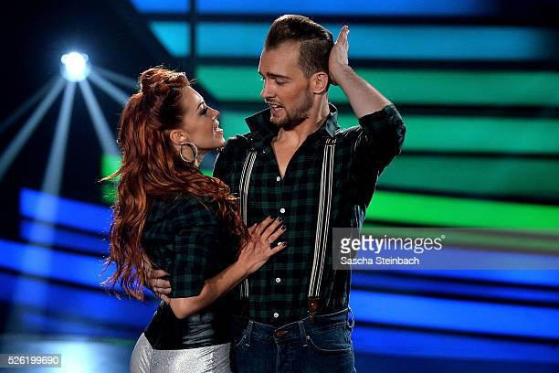 Eric Stehfest and Oana Nechiti perform on stage during the 7th show of the television competition 'Let's Dance' at Coloneum on April 29 2016 in...