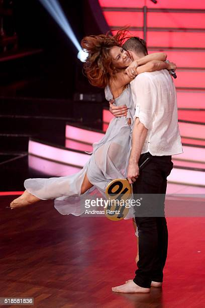 Eric Stehfest and Oana Nechiti react after their performance on stage during the 3rd show of the television competition 'Let's Dance' on April 1 2016...