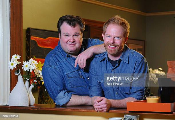 Eric Stonestreet and Jesse Tyler Ferguson play a gay couple on the set of ABC's Modern Family February 19 2010 in Los Angeles California