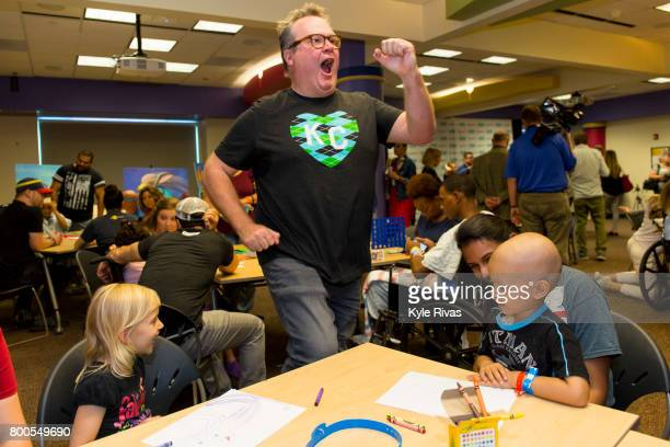 Eric Stonestreet meets with patients at Children's Mercy Hospital during the Big Slick Celebrity Weekend benefiting Children's Mercy Hospital of...