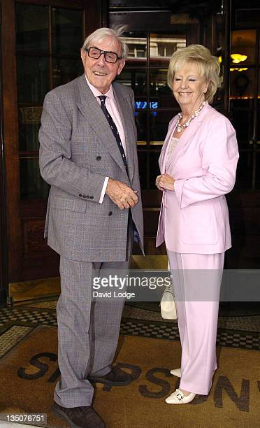 Eric Sykes and Edith Eleanore Milbrandt during The Oldie Literary Lunch 2006 Inside at Simpsons in the Strand in London Great Britain