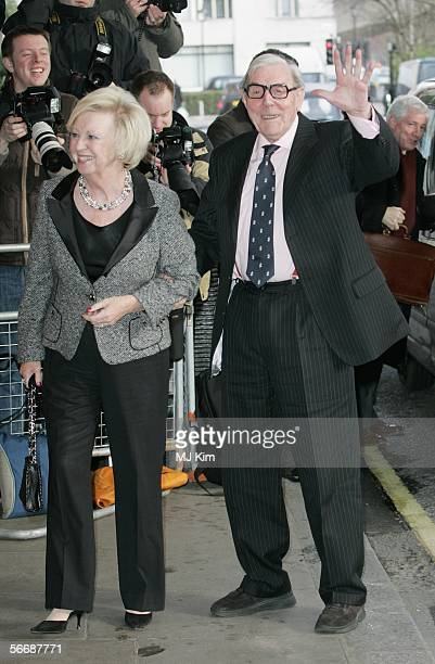 Eric Sykes and wife Edith Eleanore Milbrandt arrive at the South Bank Show Awards at The Savoy Hotel on January 27 2006 in London England The 10th...