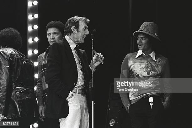 Eric Sykes talks to Michael Jackson during rehearsals for a television show London 1977
