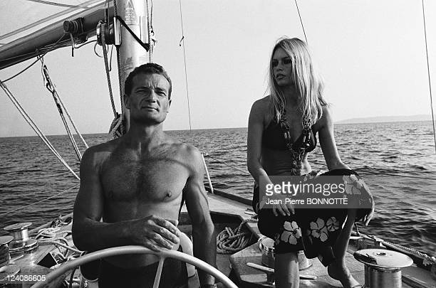 Eric Tabarly and Brigitte Bardot In Saint Tropez France In August 1968