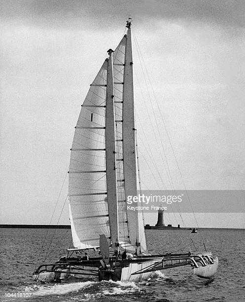 Eric TABARLY trimaran the new PEN DUICK IV leaving the harbour of Plymouth for a solo Atlantic crossing on June 15 1968