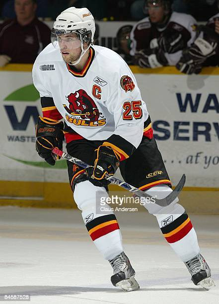 Eric Tangradi of the Belleville Bulls skates in a game against the Peterborough Petes on January 29 2009 at the Memorial Centre in Peterborough...