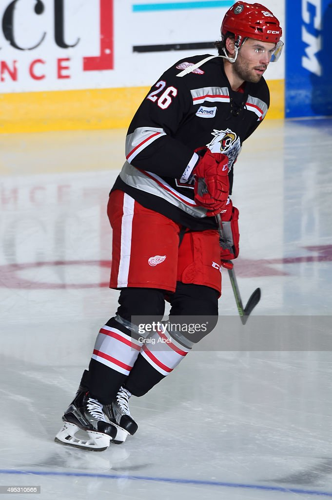 Eric Tangradi #26 of the Grand Rapids Griffins takes warmup prior to a game against the Toronto Marlies on October 30, 2015 at Ricoh Coliseum in Toronto, Ontario, Canada.