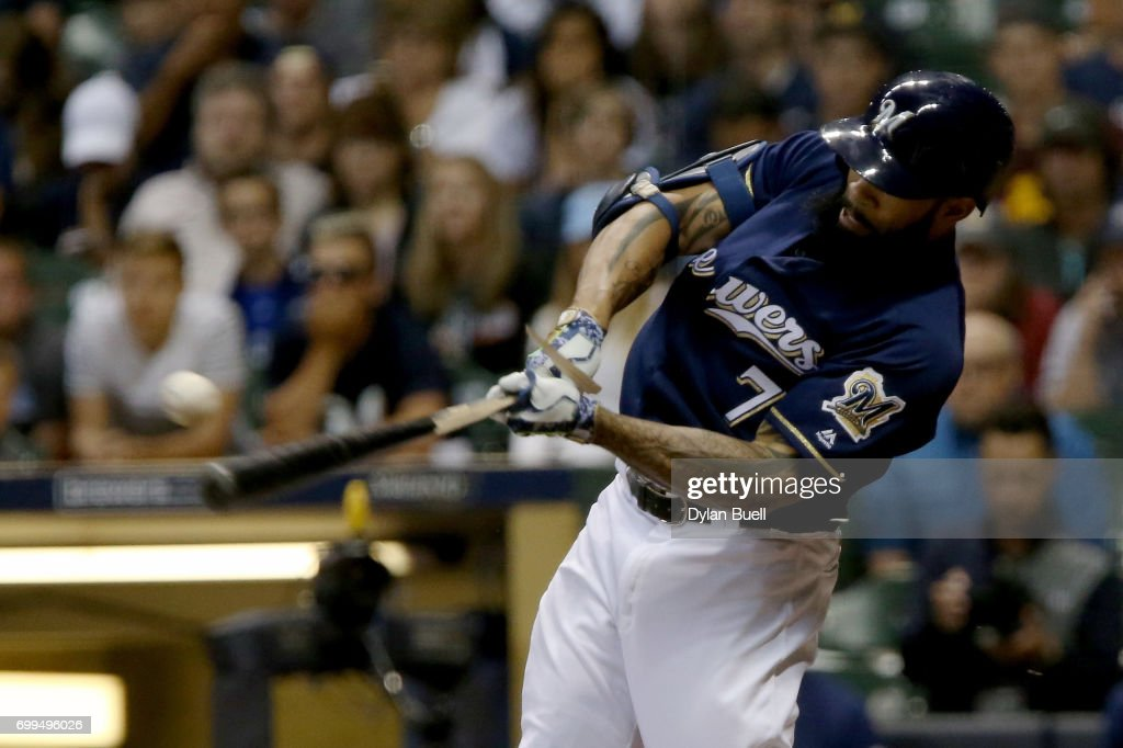 Eric Thames #7 of the Milwaukee Brewers grounds out in the seventh inning against the Pittsburgh Pirates at Miller Park on June 21, 2017 in Milwaukee, Wisconsin.
