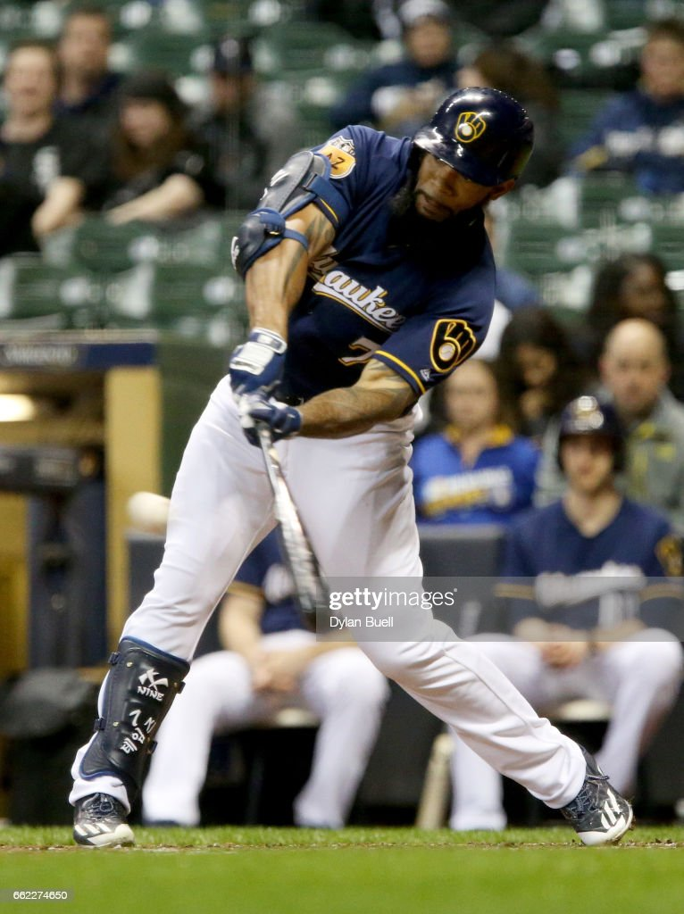 Eric Thames #7 of the Milwaukee Brewers hits a double in the eighth inning against the Chicago White Sox during an exhibition game at Miller Park on March 31, 2017 in Milwaukee, Wisconsin.