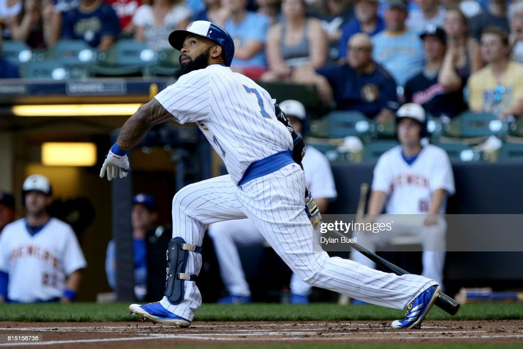 Eric Thames #7 of the Milwaukee Brewers hits a double in the first inning against the Philadelphia Phillies at Miller Park on July 15, 2017 in Milwaukee, Wisconsin.