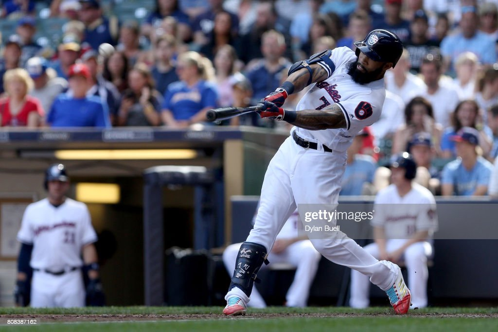 Eric Thames #7 of the Milwaukee Brewers hits a home run in the fifth inning against the Baltimore Orioles at Miller Park on July 4, 2017 in Milwaukee, Wisconsin.