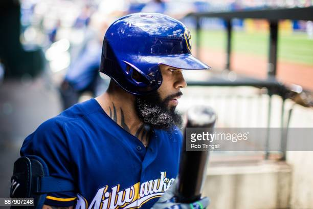 Eric Thames of the Milwaukee Brewers looks on during the game against the New York Mets at Citi Field on Thursday June 1 2017 in the Queens borough...