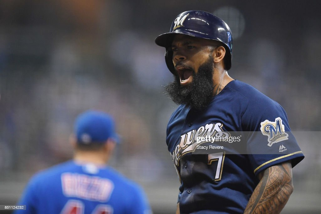 Eric Thames #7 of the Milwaukee Brewers reacts to a base hit RBI during the eighth inning of a game against the Chicago Cubs at Miller Park on September 21, 2017 in Milwaukee, Wisconsin.