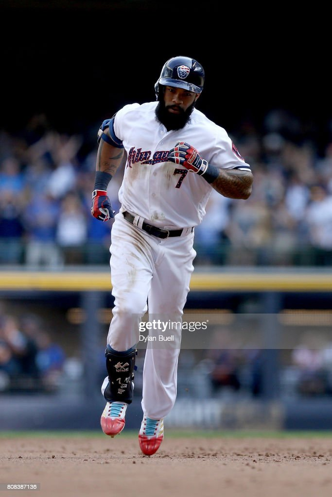 Eric Thames #7 of the Milwaukee Brewers rounds the bases after hitting a home run in the seventh inning against the Baltimore Orioles at Miller Park on July 4, 2017 in Milwaukee, Wisconsin.