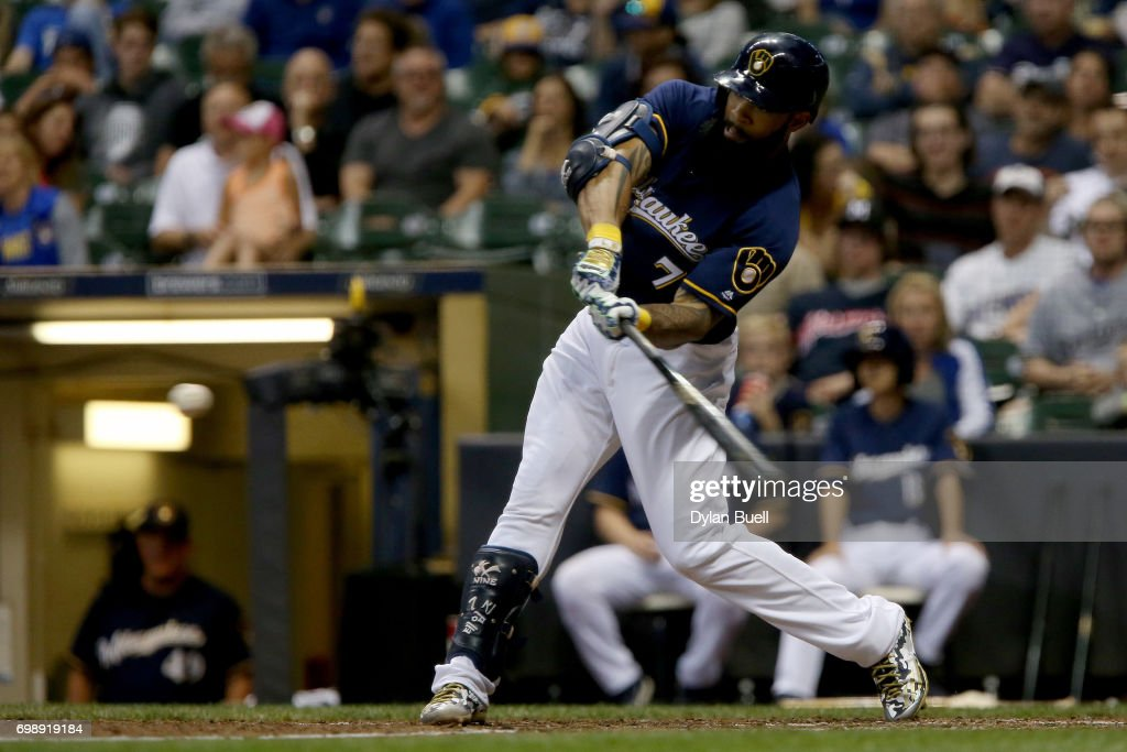 Eric Thames #7 of the Milwaukee Brewers strikes out in the sixth inning against the Pittsburgh Pirates at Miller Park on June 20, 2017 in Milwaukee, Wisconsin.