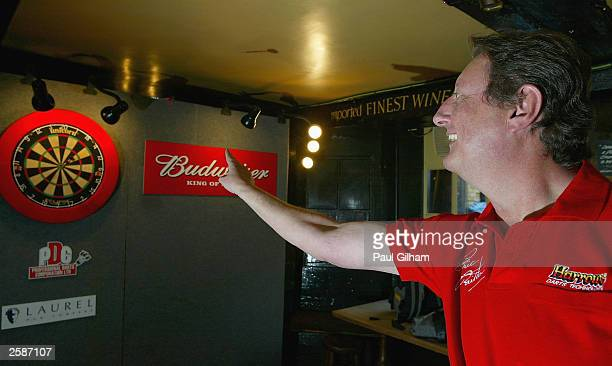 Eric ''The Crafty Cockney'' Bristow in action at the press launch of the Budweiser UK Open Darts Championship at The George Inn on October 13 London