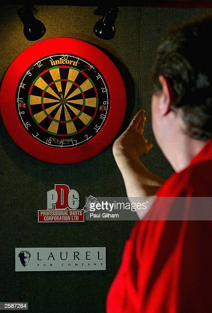 Eric ''The Crafty Cockney'' Bristow in action at the press launch of the Budweiser UK Open Darts Championship at The George Inn on October 13 in...