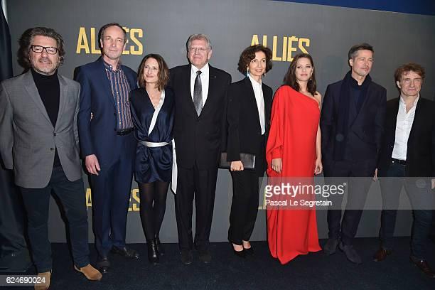 Eric Theobald Xavier de Guillebon Camille Cottin Robert Zemeckis Audrey Azoulay Marion Cotillard Brad Pitt and Thierry Fremont attend the Paris...
