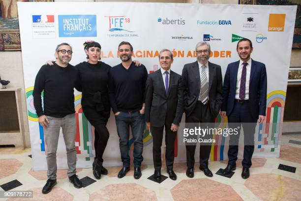 Eric Toledano Rossy de Palma Olivier Nakache and Antonio Munoz Molina present TIFE 2018 at the French embassy on January 23 2018 in Madrid Spain