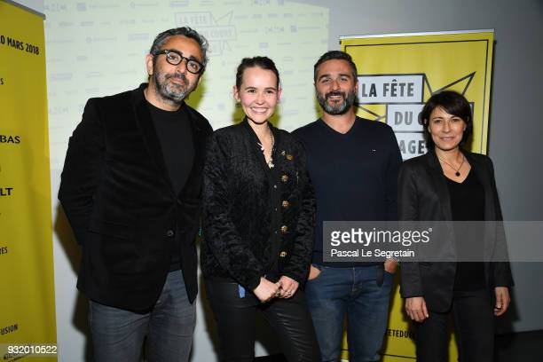 Eric Toledano Valerie Leroy Olivier Nakache and Marilyne Canto pose at 'La Fete Du Cour Metrage' Photocall on March 14 2018 in Paris France
