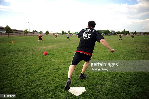 Eric Troutman singles during the opening game at City of Cuernavaca Park on Wednesday World Adult Kickball Association is opening day with 14 teams...