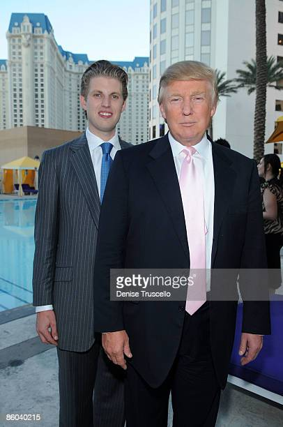 Eric Trump and Donald Trump at the 2009 Miss USA Pageant after party at Planet Hollywood Resort Casino on April 19 2009 in Las Vegas Nevada