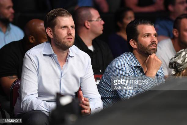 Eric Trump and Donald Trump Jr are seen in attendance during the UFC Fight Night event at the Prudential Center on August 3 2019 in Newark New Jersey