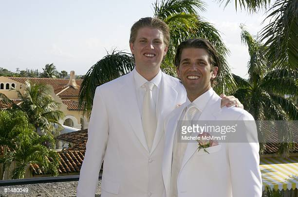 RATES Eric Trump and Donald Trump Jr before the wedding of Ivana Trump and Rossano Rubicondi at the MaraLago Club on April 12 2008 in Palm Beach...