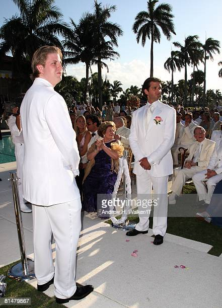 RATES Eric Trump and Donald Trump Jr during the wedding of Ivana Trump and Rossano Rubicondi at the MaraLago Club on April 12 2008 in Palm Beach...