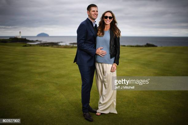 Eric Trump and his wife Lara attend the opening Trump Turnberry's new golf course the King Robert The Bruce course on June 28 2017 in...