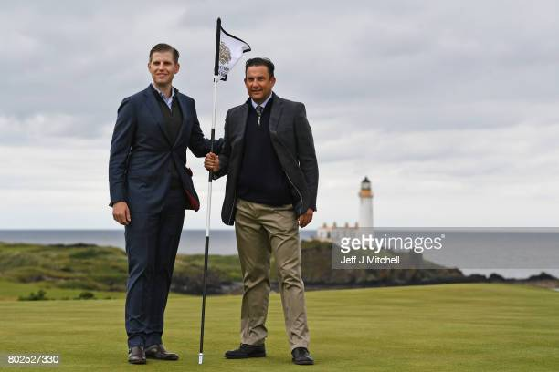 Eric Trump and Martin Ebert course architect attend the opening Trump Turnberry's new golf course the King Robert The Bruce course on June 28 2017 in...