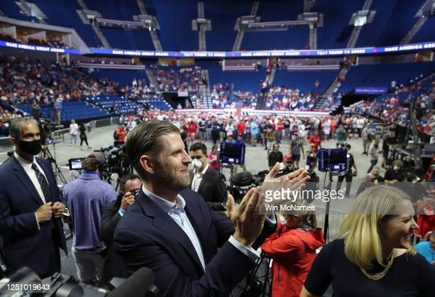 Eric Trump attends a campaign rally for his father U.S. President Donald Trump at the BOK Center, June 20, 2020 in Tulsa, Oklahoma. Trump is holding...
