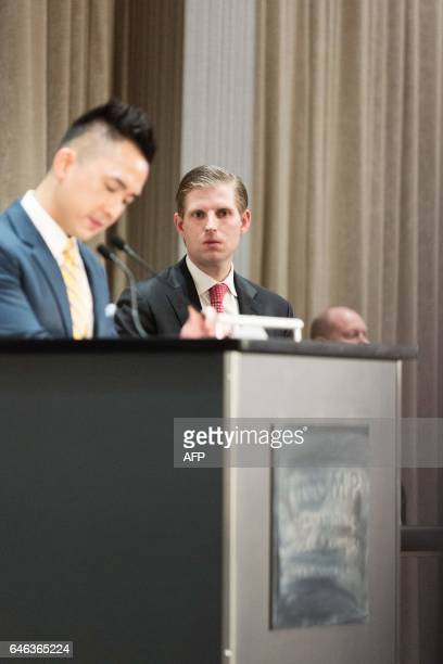 Eric Trump attends the inauguration ceremeony for the Trump International Hotel and Tower in Vancouver Canada on February 28 2017 / AFP / Stephanie...