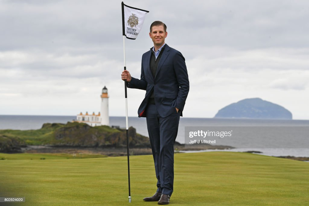 Eric Trump attends the opening Trump Turnberry's new golf course the King Robert The Bruce course on June 28, 2017 in Turnberry, Scotland. Formerly the Kintyre Course, it has been redesigned and upgraded and forms the second course to the acclaimed championship Ailsa course.