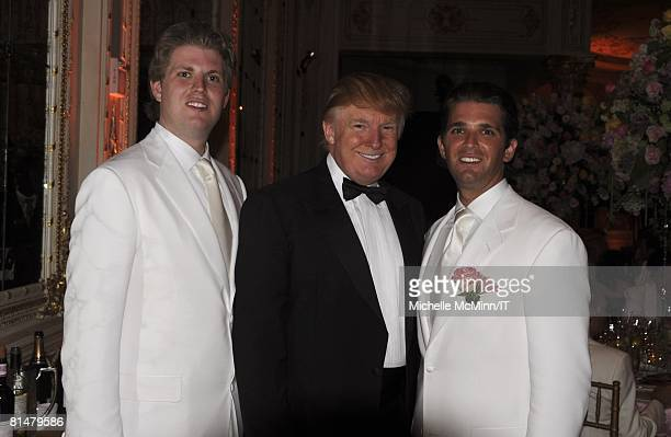 Eric Trump Donald Trump and Donald Trump Jr during the wedding reception of Ivana Trump and Rossano Rubicondi at the MaraLago Club on April 12 2008...