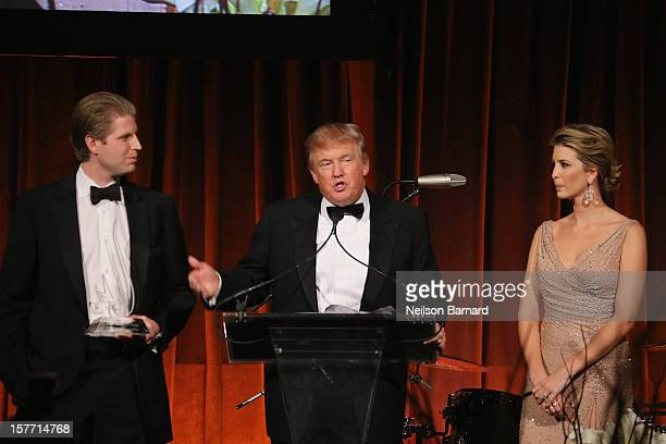 Eric Trump Donald Trump and Ivanka Trump speak during the European School Of Economics Foundation Vision And Reality Awards on December 5 2012 in New...