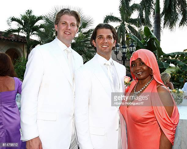 Eric Trump Donald Trump Jr and Janice Combs attend the wedding of Ivana Trump and Rossano Rubicondi at the MaraLago Club on April 12 2008 in Palm...