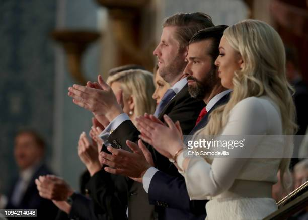 Eric Trump Donald Trump Jr and Tiffany Trump look on during the State of the Union address in the chamber of the US House of Representatives on...