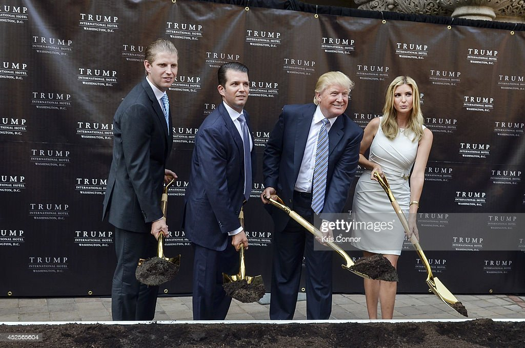 Eric Trump, Donald Trump Jr., Donald Trump and Ivanka Trump attend the Trump International Hotel Washington, D.C Groundbreaking Ceremony at Old Post Office on July 23, 2014 in Washington, DC.