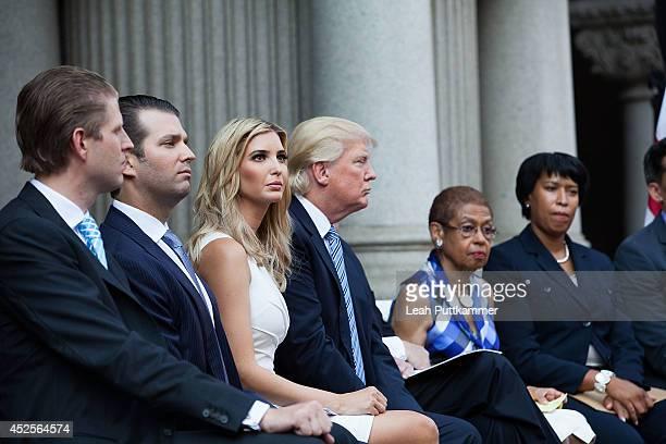 Eric Trump, Donald Trump, Jr., Ivanka Trump, Donald Trump, Sr., Rep. Eleanor Holmes Norton and Councilmember Muriel Bowser attend the Trump...
